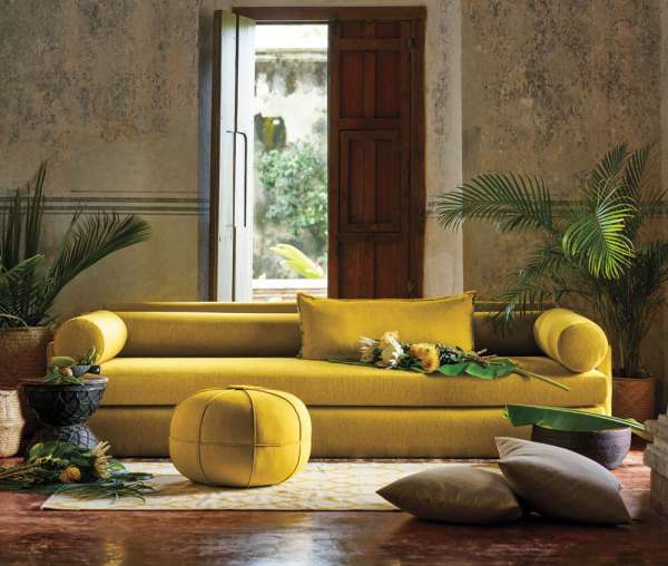 Living Room with yellow citron sofa made with Sunbrella fabrics.