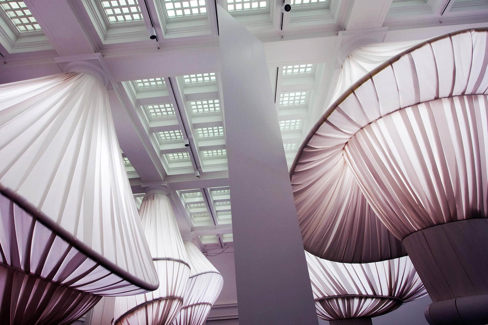 The reOrder exhibit at the Brooklyn Museum featuring 2000 yards of Sunbrella fabrics