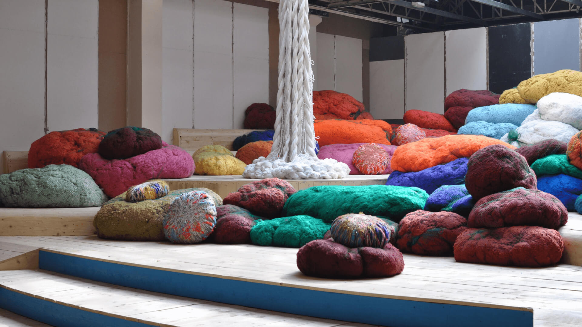 Sheila Hicks art installation featuring Sunbrella fibers and yarn