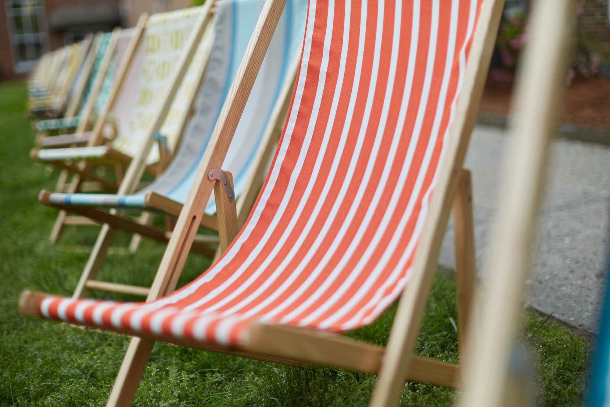 Cabana chair with red and white striped fabric