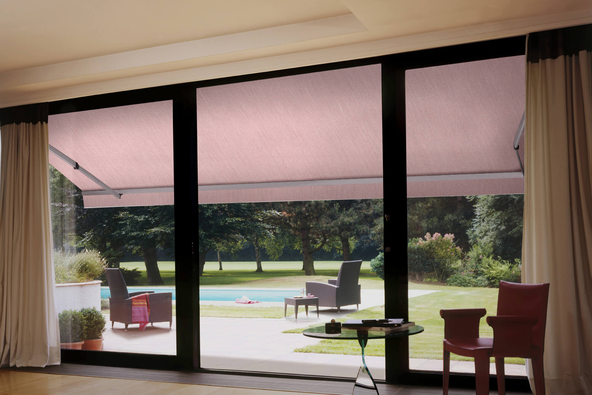 View of retractable awning from the inside of a house