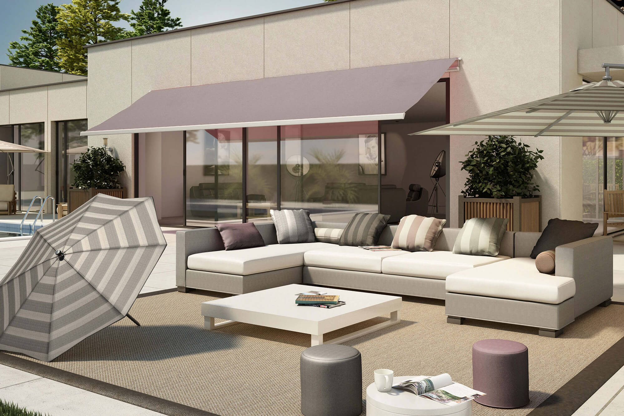 Patio con muebles de exteriores, toldo y sombrillas