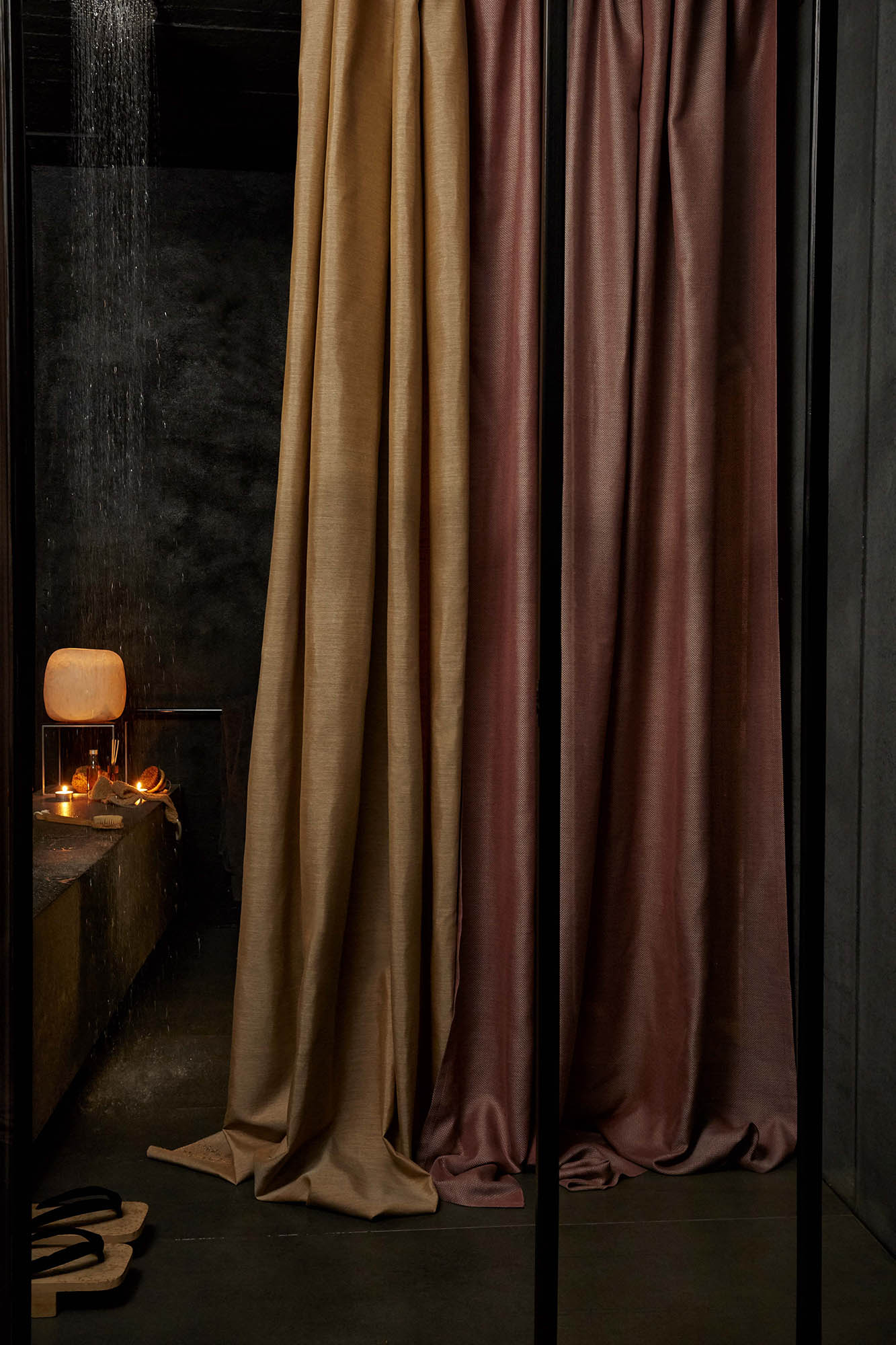 bathroom decorated with sunbrella curtains
