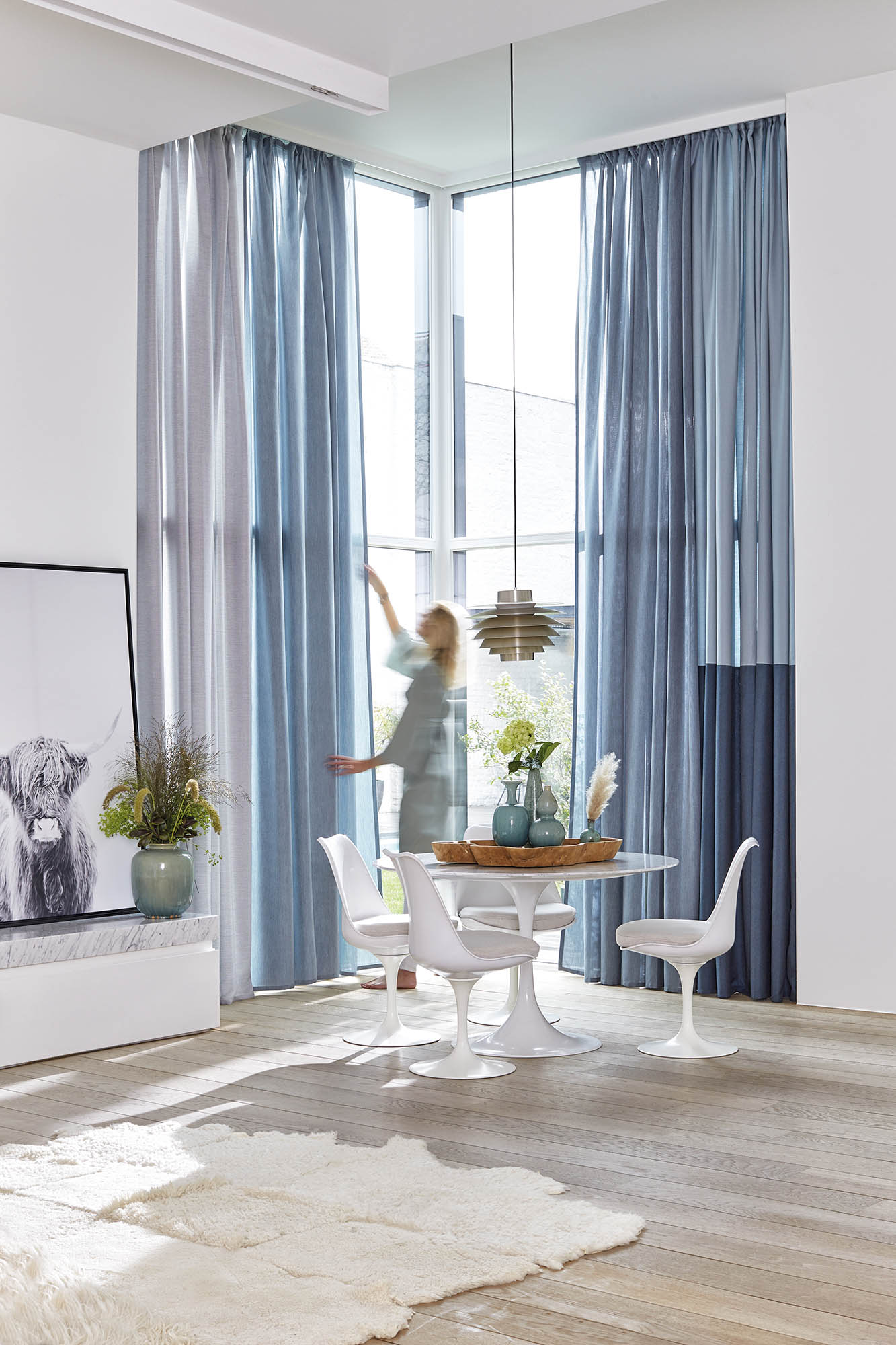 dining room decorated with sunbrella curtains