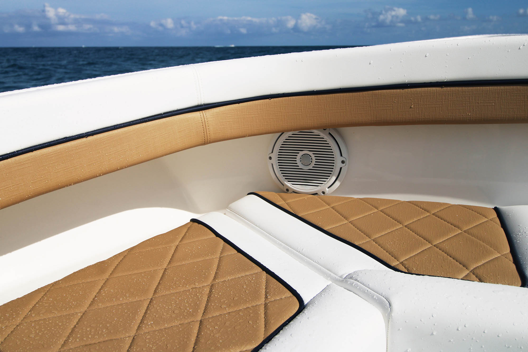 Boat seats upholstered in Sunbrella Horizon synthetic leather fabric.