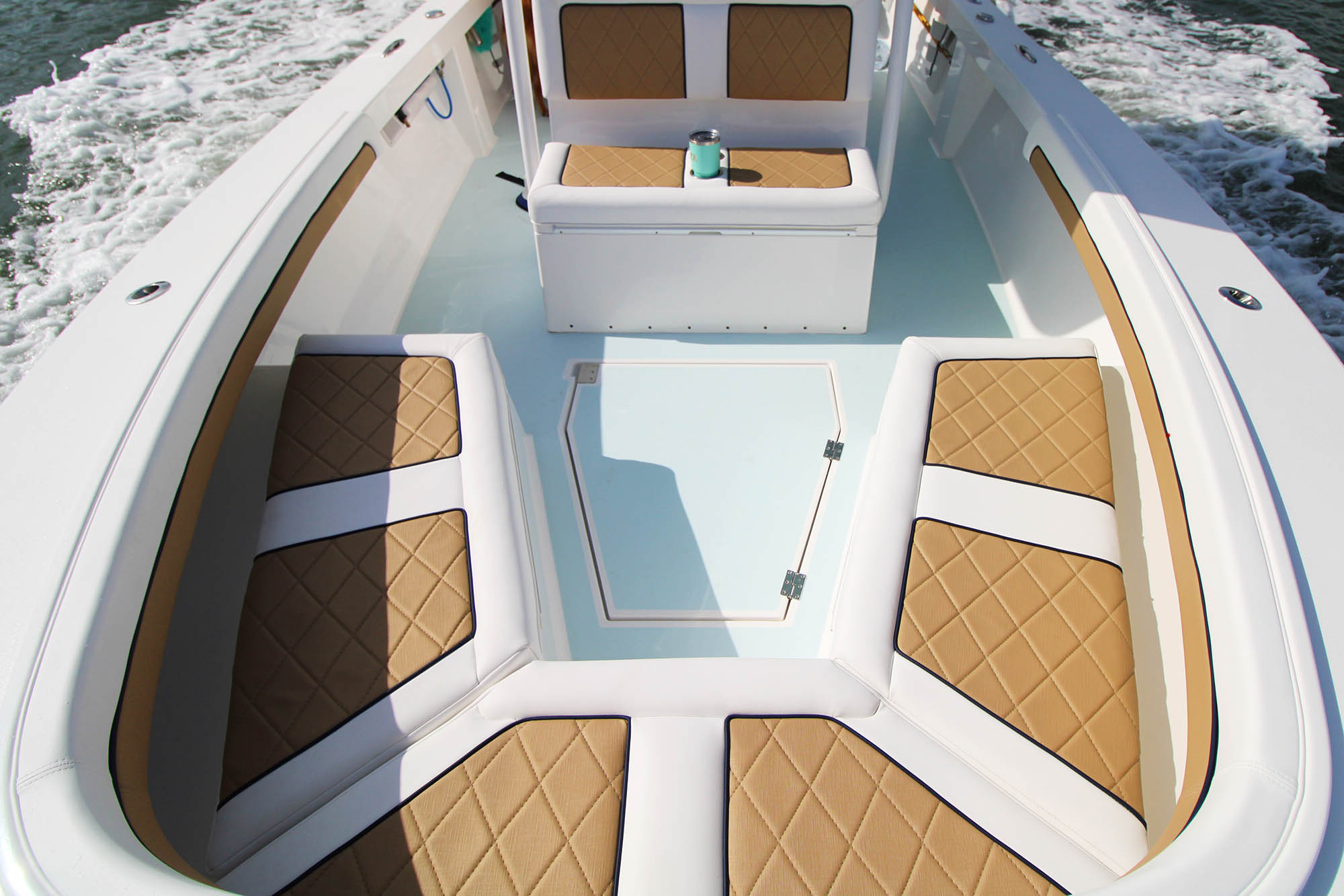 Boat seating upholstered with Sunbrella Horizon synthetic leather fabric