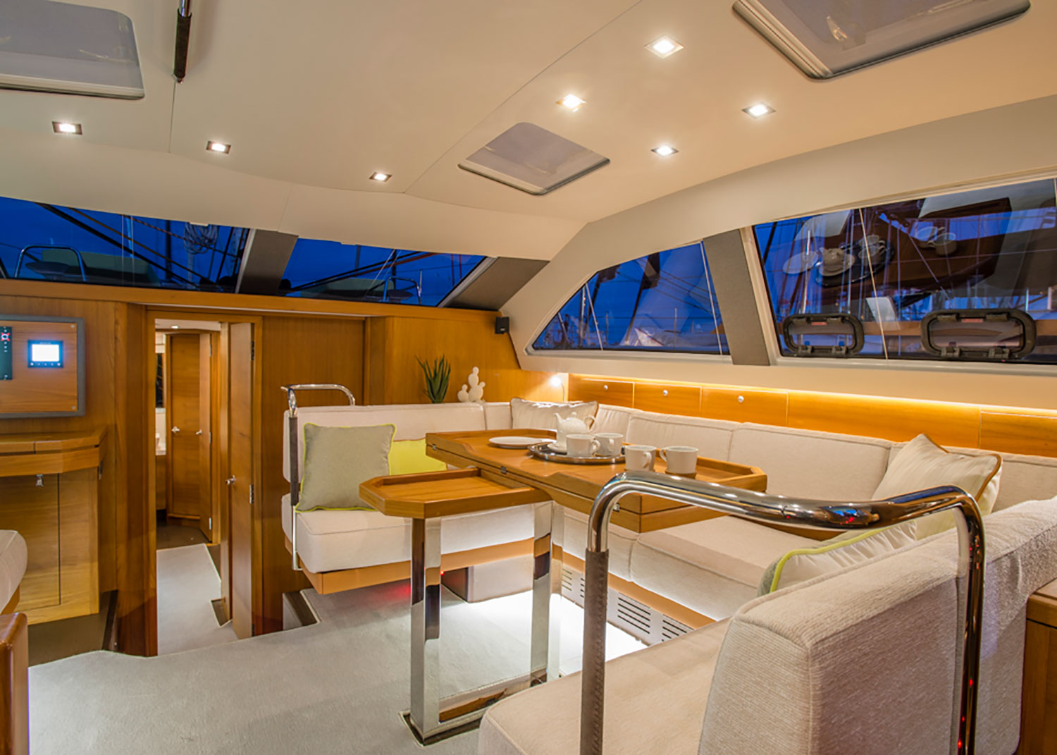 A luxe boat interior is ideal for the seas with netural Sunbrella fabrics.