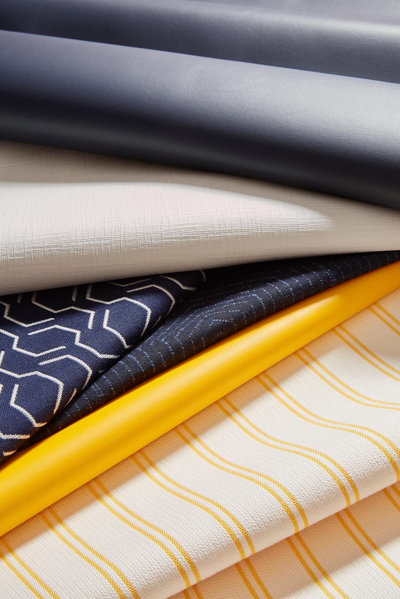Sunbrella Marine Upholstery Collection, Blue and Yellow Fabrics