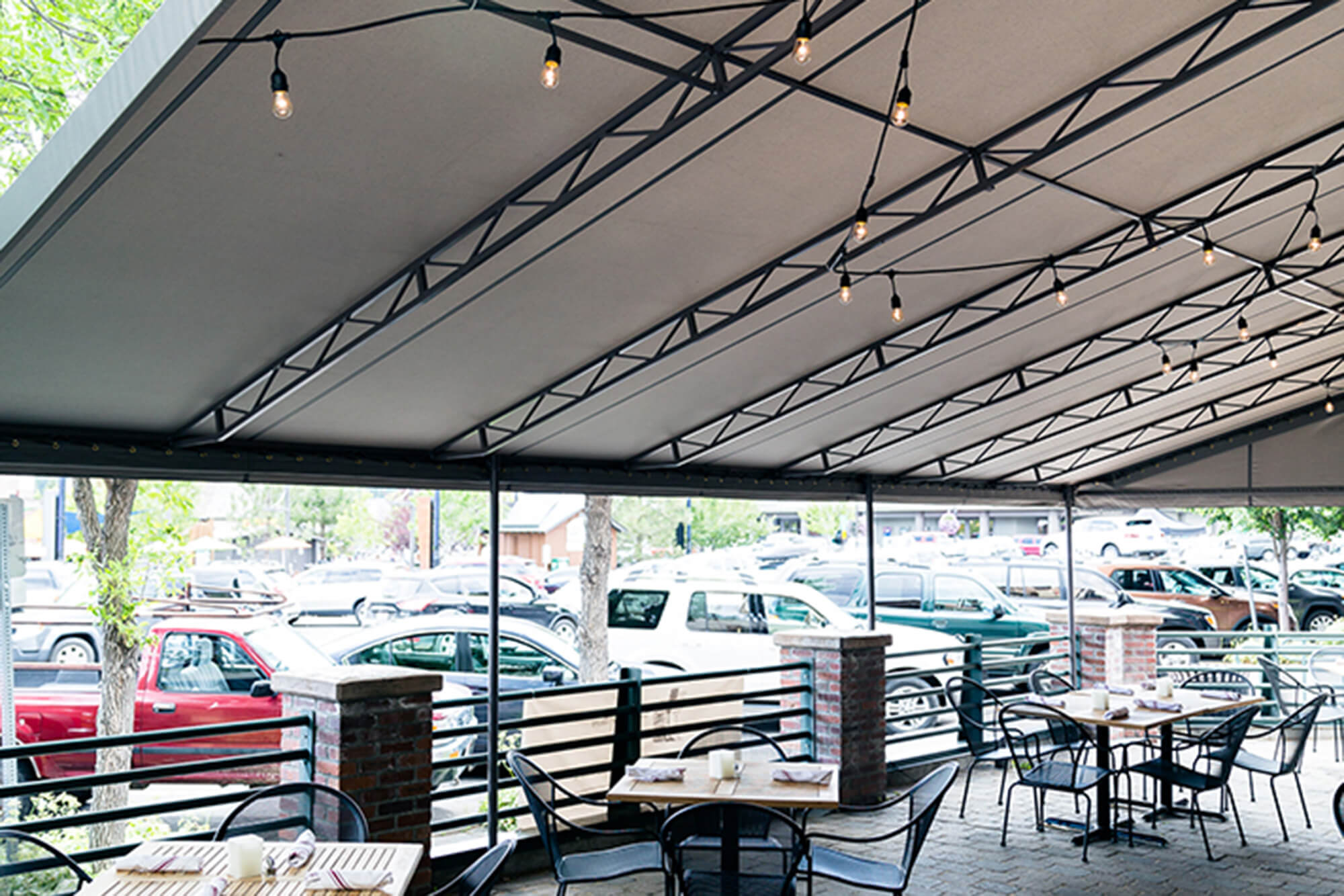 View of underside of awning covering a restaurant patio