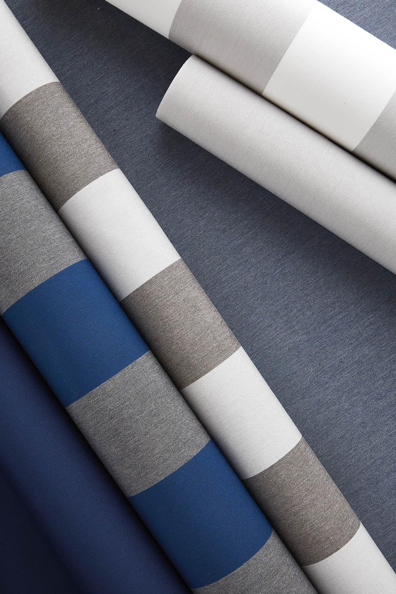 Sunbrella shade fabrics featuring new Beaufort stripes