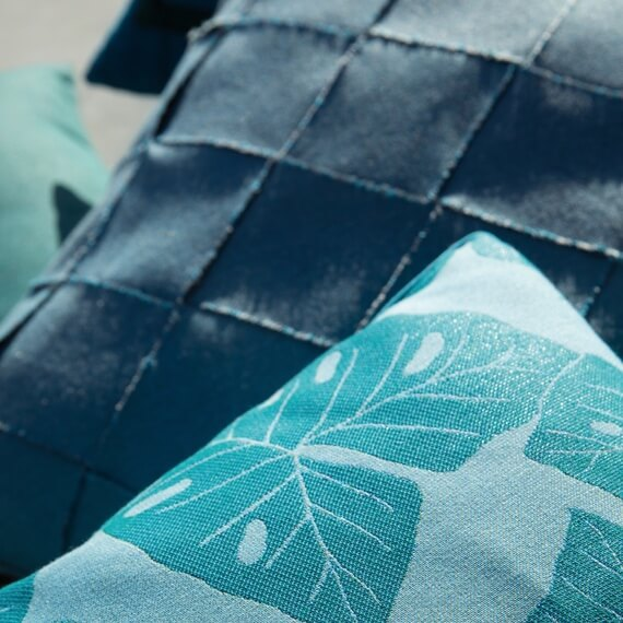 Close-up of Sunbrella performance fabric on pillows.
