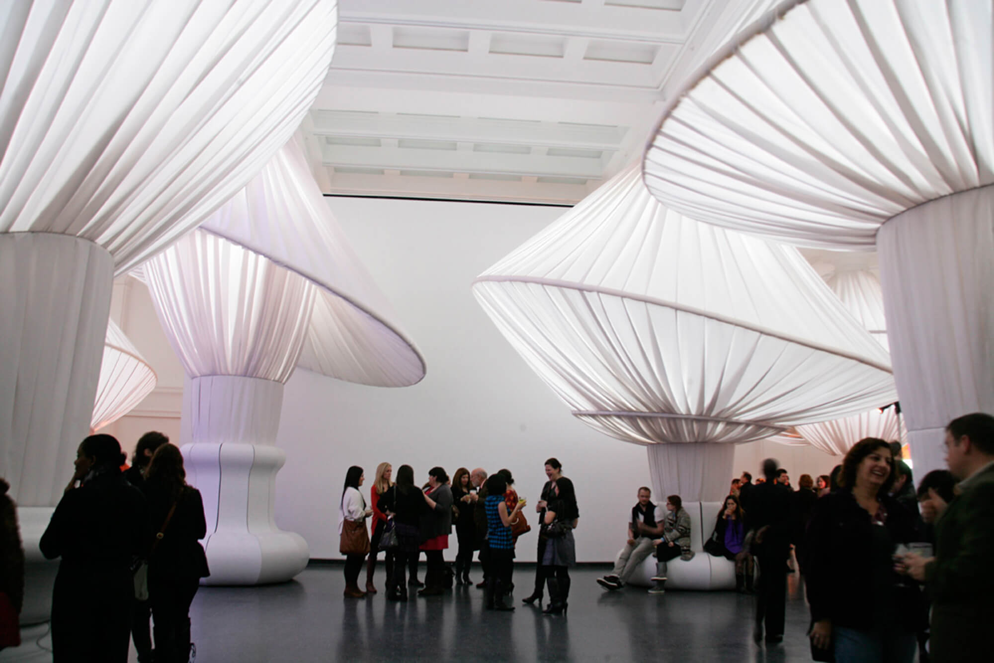 fabrics gathered into large orbs adorn the Brooklyn Museum