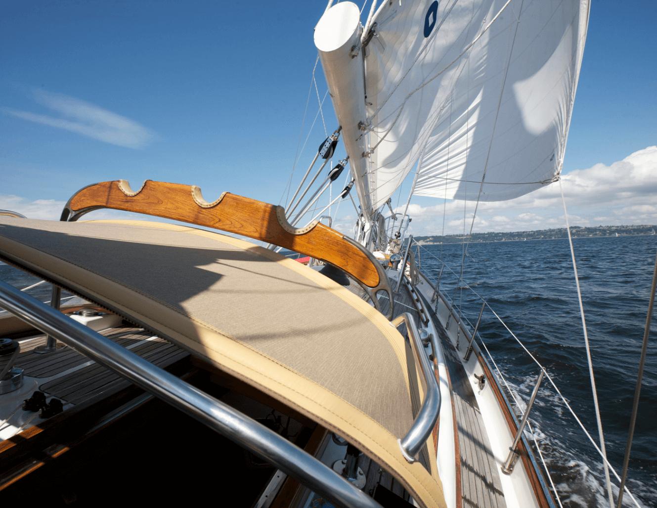 Galatea sailboat on the water showcasing bimini and sailcloth