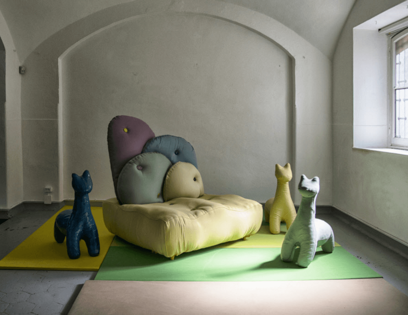 Animal Pouffs and a sofa made using Sunbrella fabrics at the Rosana Orlandi gallery in Milan, Italy