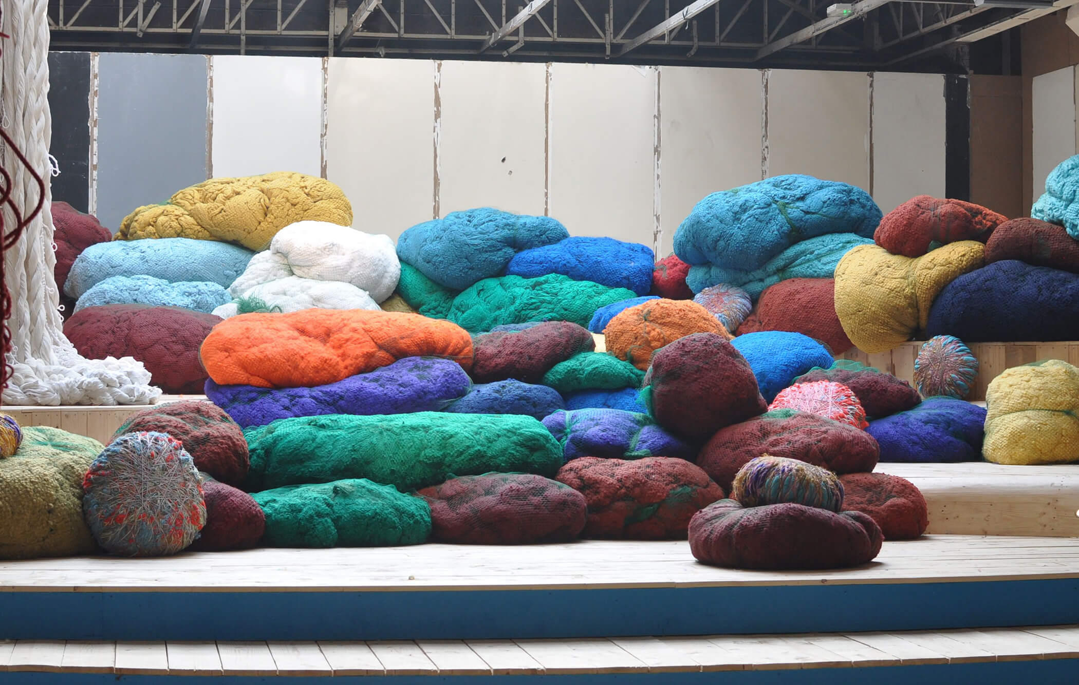 Brightly colored Sunbrella fibers at the Sheila Hicks installation at the Palais de Tokyo