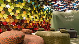 Art installation by Elise Fouin using colorful Sunbrella fabrics on display in Milan, Italy