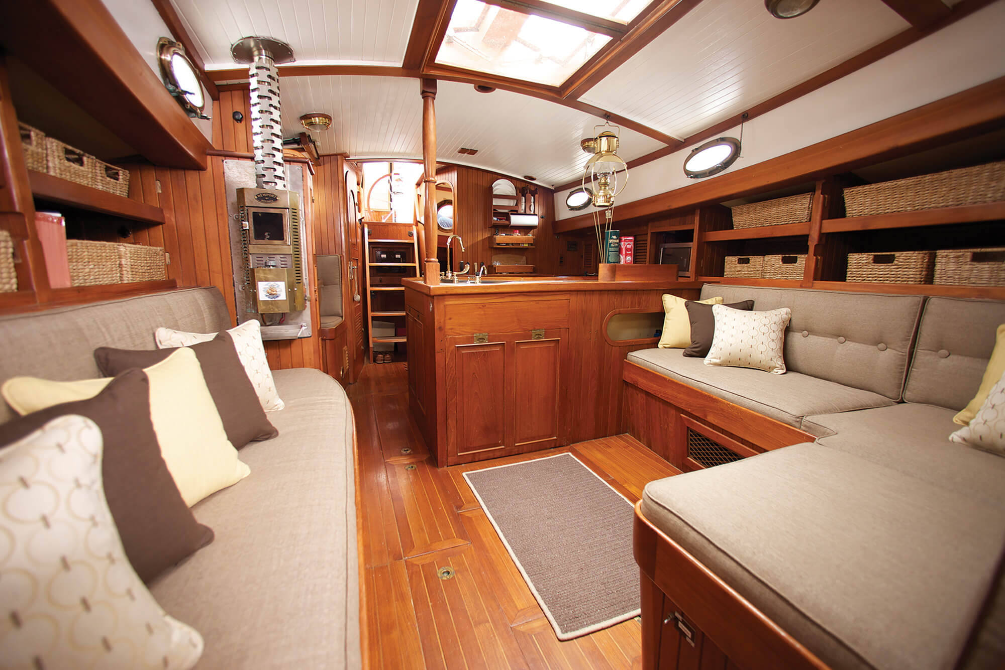 ... Shot Of Sailing Boat Cabin With Cushion And Pillows Made Using  Sunbrella Fabrics In A Brown ...