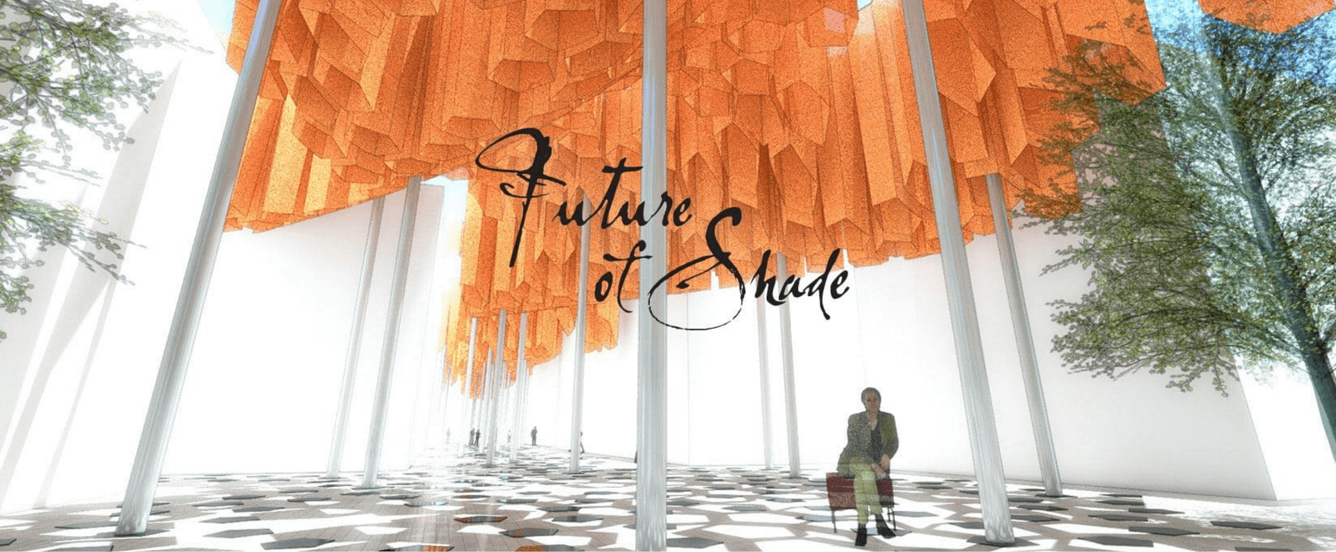 Future of Shade concept featuring hanging orange structures of Sunbrella fabrics