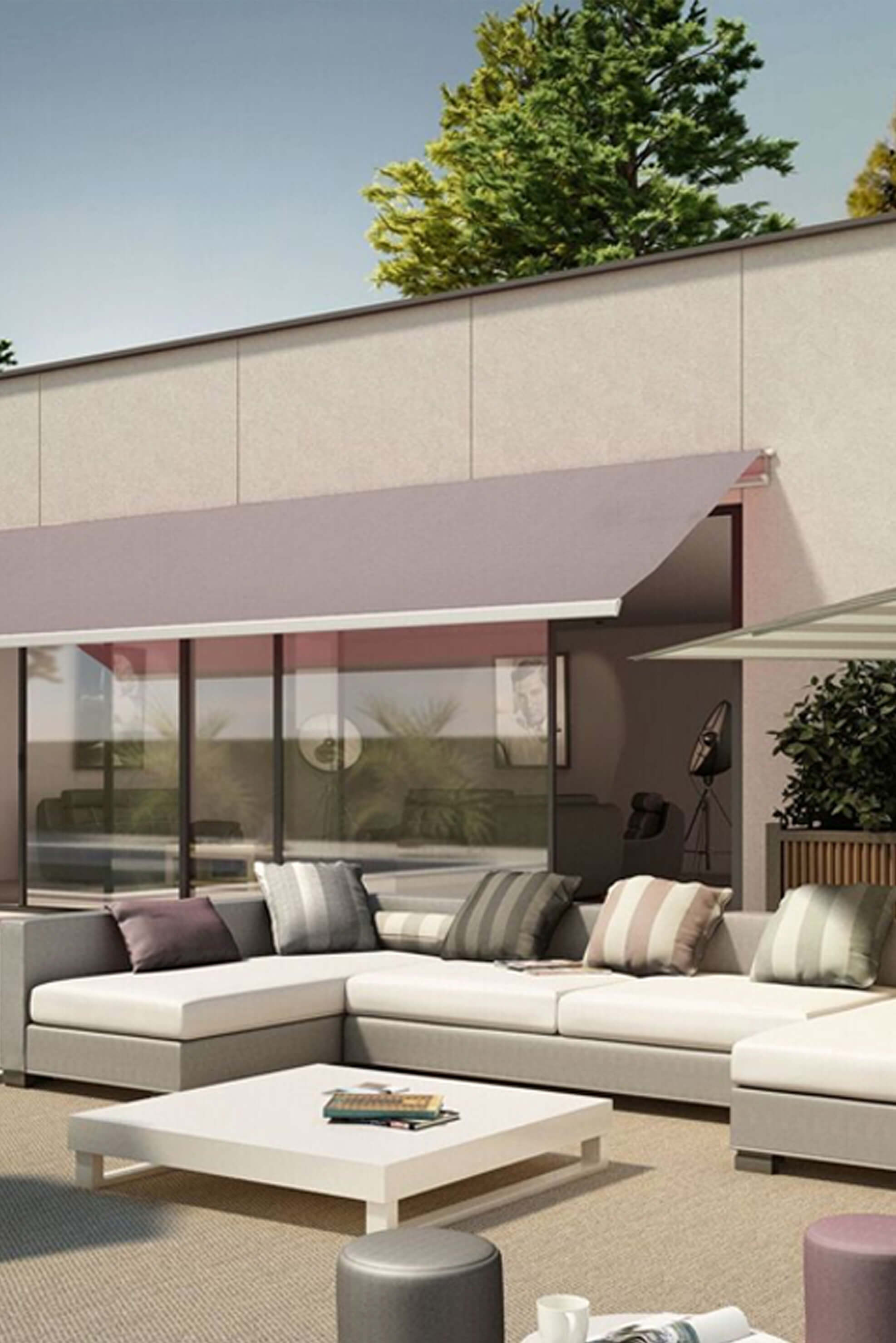 Patio Furniture Shaded By Retractable Awning Made Using Sunbrella Fabrics