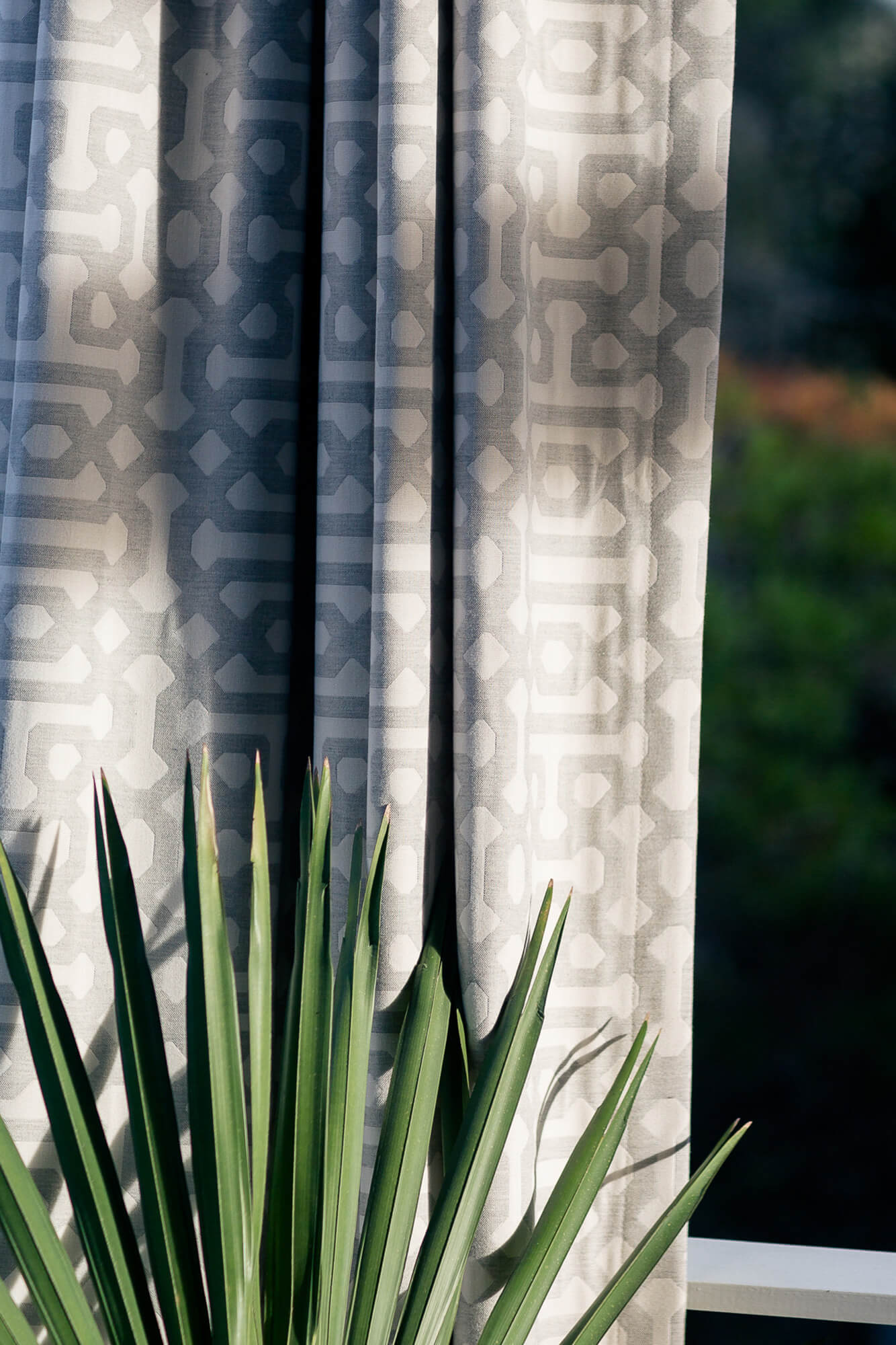 Outdoor Drapery in Sunbrella Fretwork Pewter